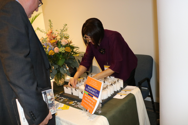 Lorena Hernandez and Tandi Perkins taking care of registration.